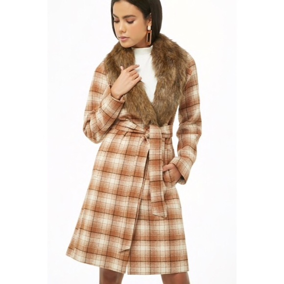 Forever 21 Jackets & Blazers - Forever21 Faux Fur Plaid Wrap Coat
